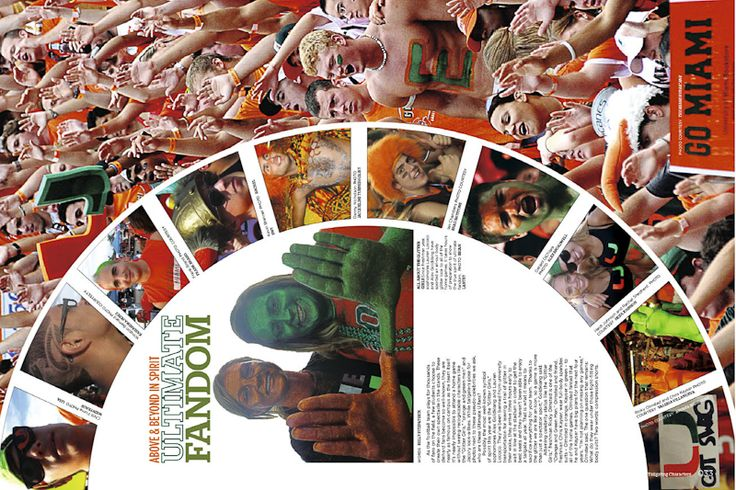 Create full page spread with circle in the center. Great way to cover sporting events and/or pep rallies. (Great for use with the 360.)  UNIVERSITY OF MIAMI inspiration. Use as a full page to cover sporting events or a pep rally