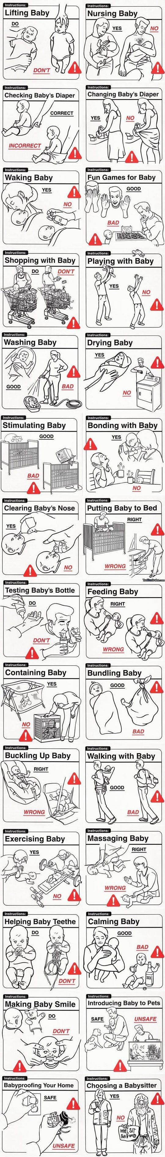 Baby Instructions 101 i could make this into a booklet and give it as a gag gift for mothers to be love it