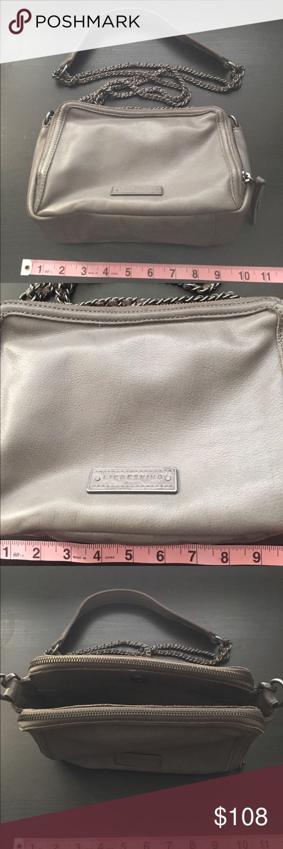 LIEBESKIND - Leather bag LIEBESKIND original - Grey leather cross body bag with double chain straps with leather weaved throughout the straps.  2 zippered compartments and the middle compartment has a magnetic closure. One small pocket in one compartment. Bags Crossbody Bags