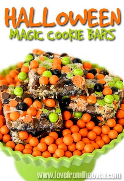 Halloween Magic Cookie Bars Recipe ~ super easy and are quite versatile.  You can make them as simple or as loaded with goodies as you like.