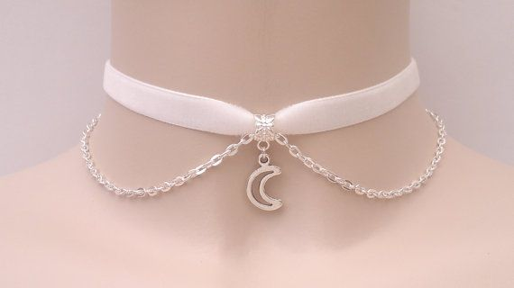 Cute Outline Crescent MOON Charm With SP Chain 10mm WHITE Velvet Ribbon Choker - kr.. or choose another colour velvet, hand made to order :)
