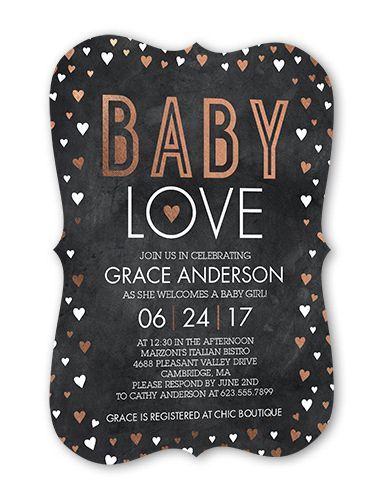 Baby Shower Invitation: Fancy Baby, Bracket Corners, Grey