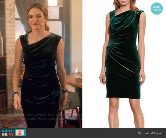 Caitlin's green velvet dress with asymmetrical neckline on The Flash. Outfit Details: https://wornontv.net/64792/ #TheFlash
