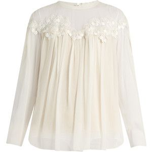 Chloé Lace-trimmed gathered silk-georgette blouse