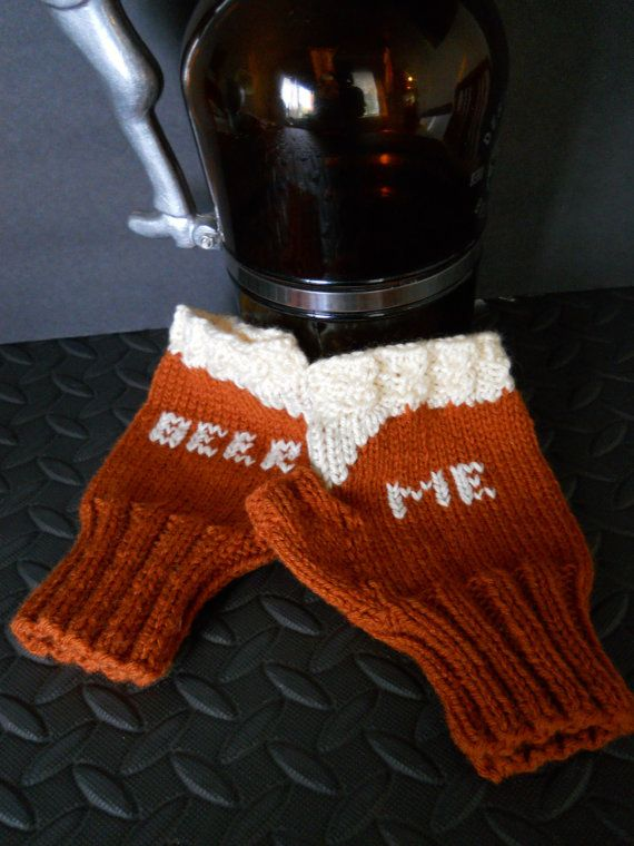 The Beer Me Texting Fingerless Gloves, Amber Ale Edition by Pikeys, $25.00 on Etsy.