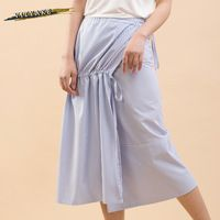 VITYAKE Yeni Varış Basit Stil Kadın Casual Kravat Bandaj Dikey Stripes Etek