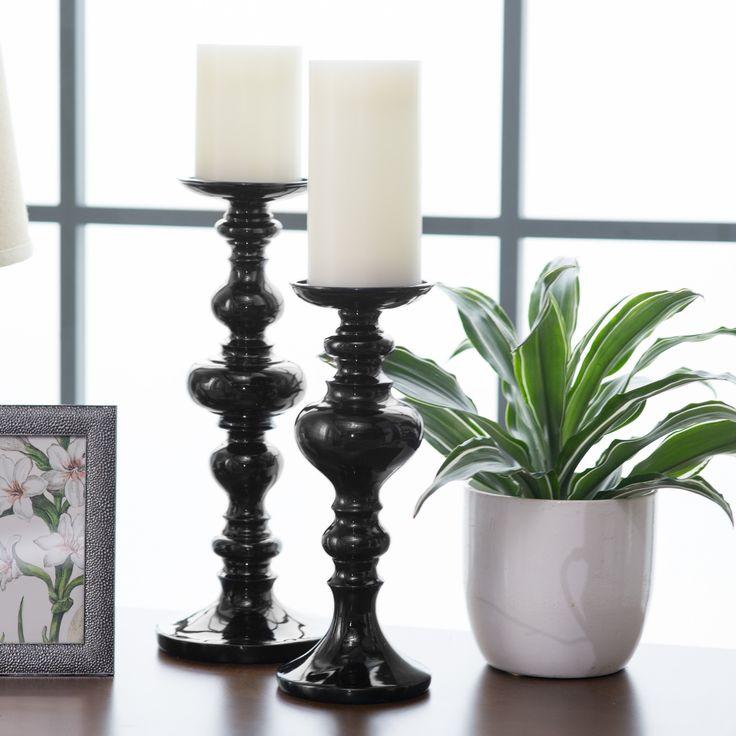 Morgan Black Candle Holder - Make a centerpiece a real statement with this  Morgan Black Candle