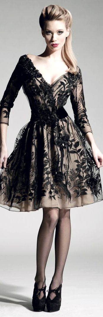 not the right silhouette but like the black lace over nude.