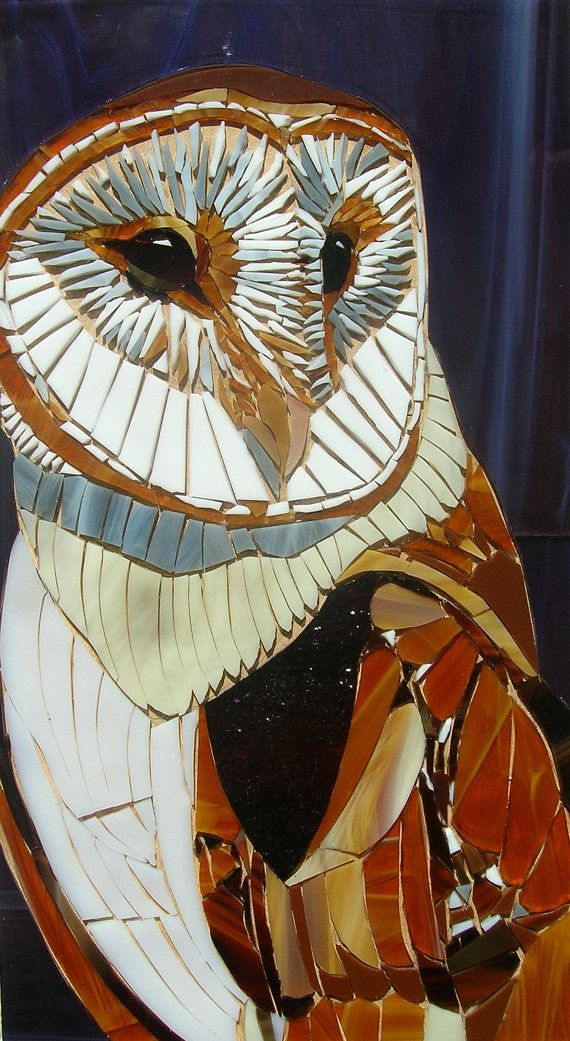 Greetings card from an original mosaic. The original barn owl mosaic was made from stained glass, each piece cut to shape by hand. This photo is