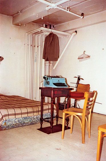 """william s. burroughs nicknamed his room in this partially converted ymca """"the bunker"""".  1978."""