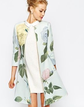 7d16c6148aa757 Ted Baker Coat in Distinguishing Rose Print | rêve placard | Ted baker  outfit, Fashion, Coat