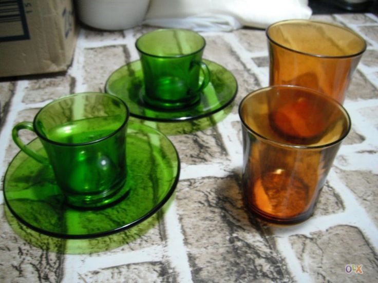 "Spanish brand ""Duralex"" pyrex glasses and teacups"