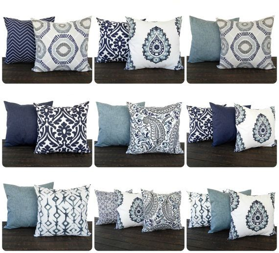 pillow throw pillow pillow cover cushion decorative pillow vintage indigo blue navy gray white modern home decor