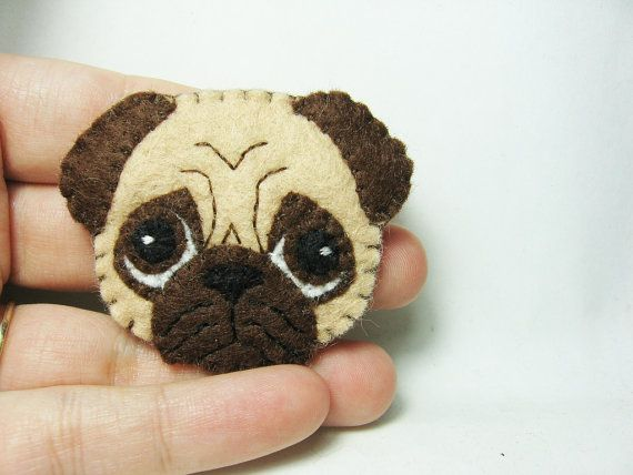 Pug felt brooch by hanaletters on Etsy