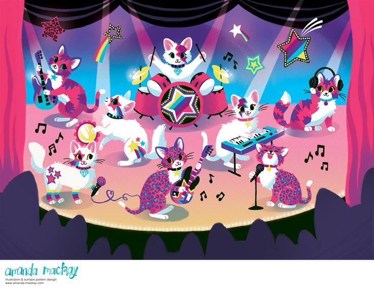 Glam Rock Star Kittens - by Amanda MacKay Illustration