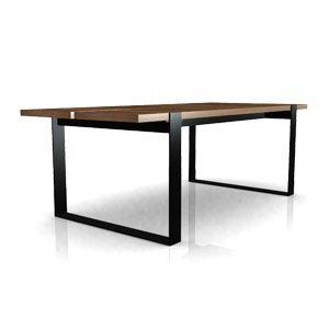 Mesa 61 diseñada por Carlos Acosta y Rodrigo Alegre. Mesa con estructura de acero y cubierta de madera. Con opción a elegir entre distintos aceros y distintas maderas.