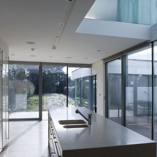The extension is envisaged as three folded elements of varying heights; the lowest element, is the living room, a two storey element accommodates the kitchen