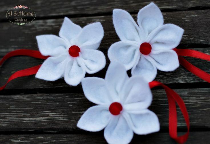 filcowe kwiaty, białe, święta Boże Narodzenie, hand made