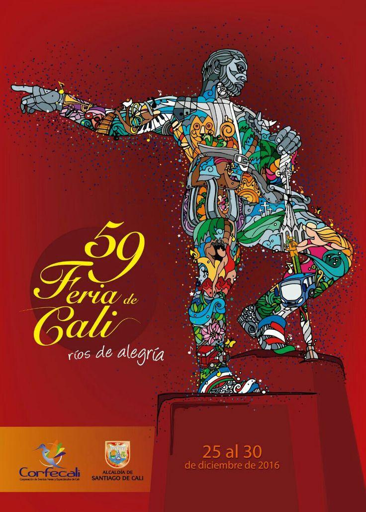 Segundo lugar de la convocatoria Afiche 59 Feria de Cali, 2016. Propuesta presentada por Luz Elena Padilla Moreno