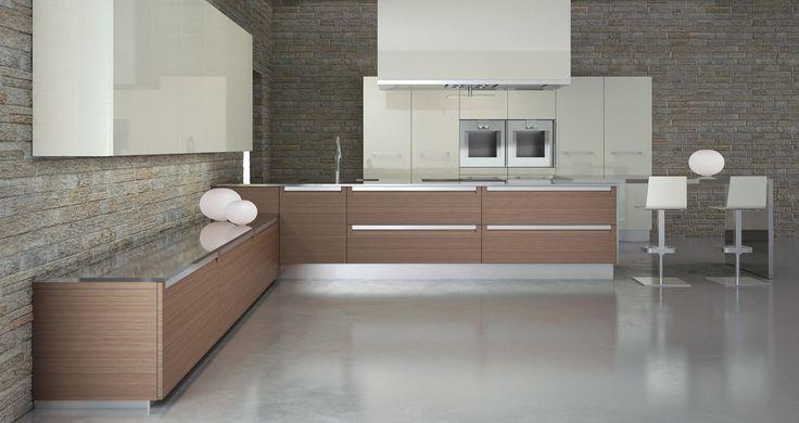 Model Versilia Polymeric kitchen. Door with integrated steel handle. 22 mm door thickness  --- Κουζίνα versilia από πολυμερές υλικό σε: ματ ξύλα, και λευκό γυαλιστερό, χρώμα. Πόρτα με ενσωματωμένη ινοξ λαβή, πάχους 22 mm
