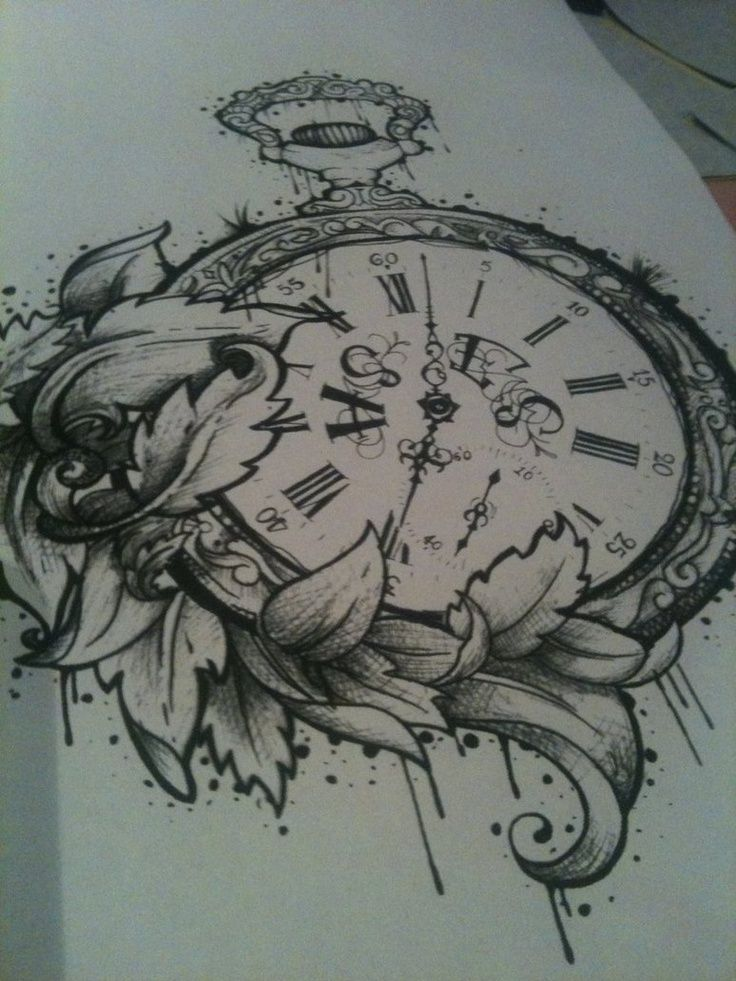 Pocket watch tattoo design...Want the watch without the flowers and with a Fight Club quote