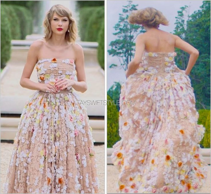"""Blank Space"" music video Dolce & Gabbana floral gown This beautiful nude gown decorated with textured floral appliqués by Dolce & Gabbana has got to be my favourite gown of the video. It's so..."