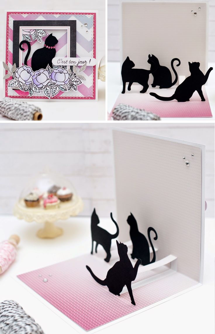 Carte pop up chats explications 07 scrap animaux pinterest cartes d 39 halloween id es - Carte pop up facile ...
