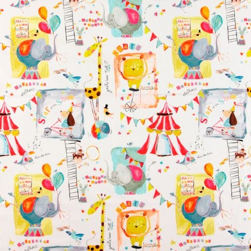 Cotton white with abstract circus print - Stoff & Stil - DIY kid's room