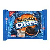 Halloween Oreos are peanut-free. NOTE: Many Oreo products are safe for people with peanut allergies, BUT there are peanut butter Oreo flavors, and the Oreo Cakesters also carry a MAY CONTAIN warning for peanuts! So when buying Oreos, please read the label carefully every time.