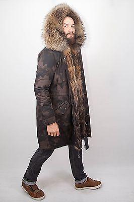 Новые зимние мужские военная парка пальто куртка енот реальный мех класс не норка