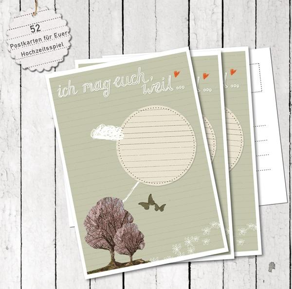 """Mit dem Hochzeitsspiel """"Ich Mag Euch,weil..""""-Postkarten kann jeder Hochzeitsgast seinen persönlichen Mag-euch-Grund aufschreiben und dem Hochzeitsp..."""