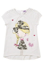 F Striped Camouflage Girl T-Shirt