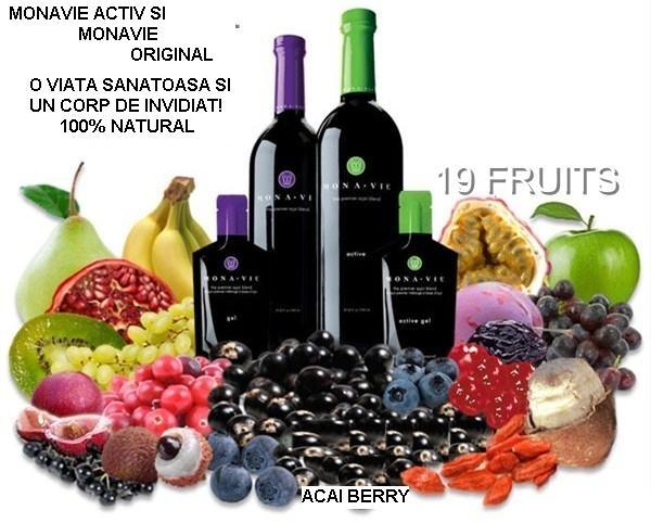 Monavie dispune de un amestec delicios de acai berry si alte 18 fructe benefice corpului
