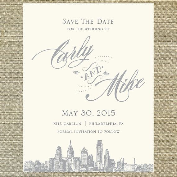 Philadelphia Skyline Destination Save the Date by PixieChicago