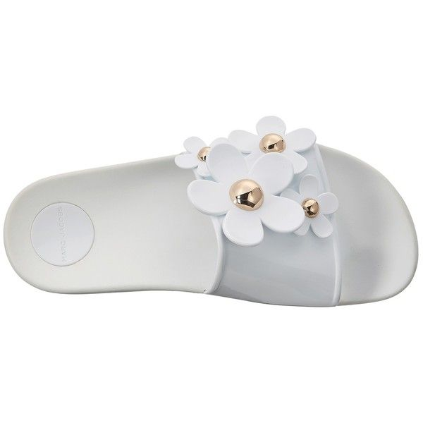 Marc Jacobs Daisy Aqua Slide (White) Women's Slide Shoes ($150) ❤ liked on Polyvore featuring shoes, synthetic shoes, aqua shoes, floral print shoes, sexy white shoes and white slip on shoes