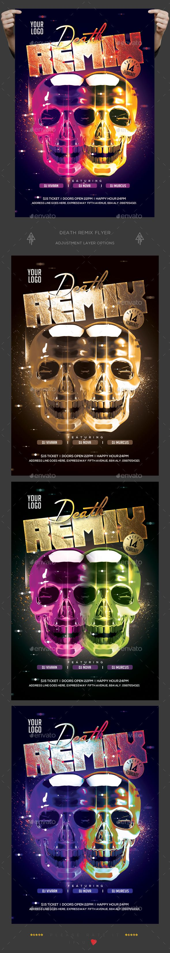 Death Remix Flyer — Photoshop PSD #grunge #festival • Download ➝ https://graphicriver.net/item/death-remix-flyer/19381273?ref=pxcr