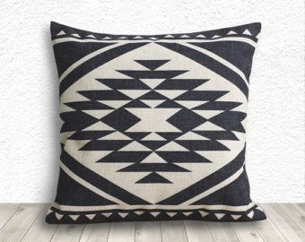 Kilim Pillows, Pillow Covers, Aztec Pillow Cover, Tribal Pillow Cases, Linen Decorative Throw Pillows 18x18 - Printed Tribal - 173