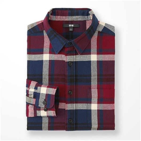 Flannel Checked Long Sleeve Shirt (1.130 RUB) ❤ liked on Polyvore featuring men's fashion, men's clothing, men's shirts, men's casual shirts, men, red, uniqlo men's shirts, mens base layer shirt, mens checkered shirts and mens long sleeve plaid shirts