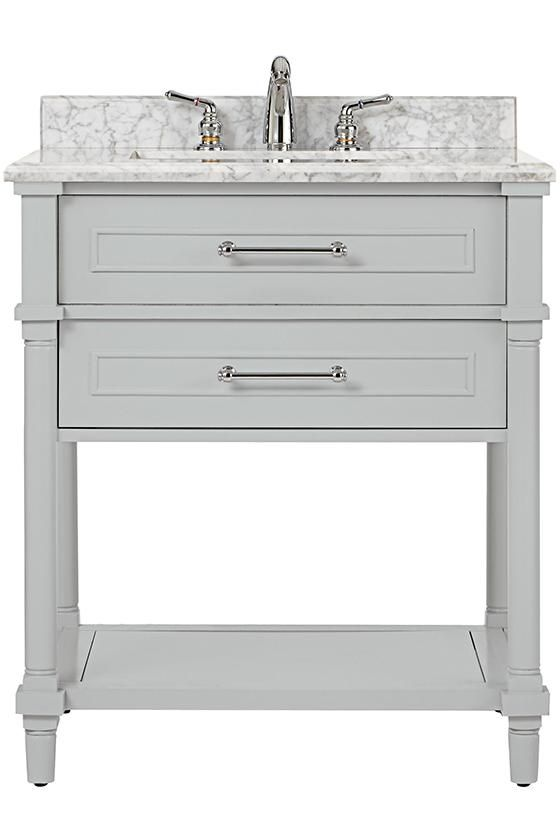 Home Decorators Collection Aberdeen 30 In W Open Shelf Vanity In Dove Grey With Carrara Marble