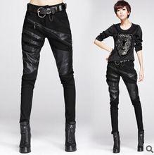 Сексуальная elastically - растягиваемые черный сращивание кожаные штаны и брюки…
