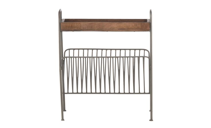 Global Archives Magazine Rack Chairside Table - Accent table with metal magazine rack and hardwood top.