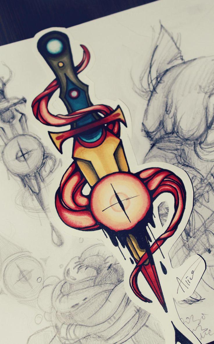 Кинжал - татуировка фото и эскиз от тату-мастера Alice Savina в стиле , ,
