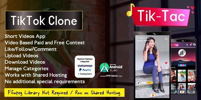 Tiktac Short Video App With Admin Panel Video App Admin Panel App