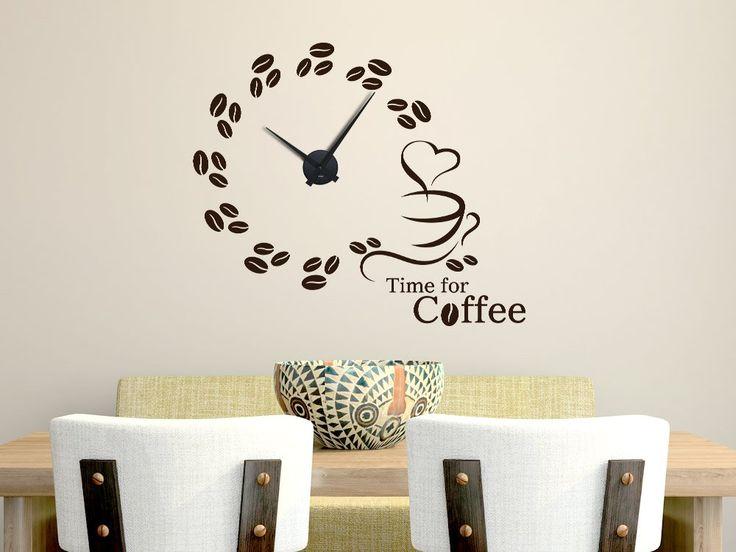 #Wandtattoo #Uhr Time for #Coffee mit #Kaffeebohnen ab 26,00€