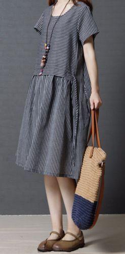 New women loose fit over size stripes black white pocket dress tunic fashion