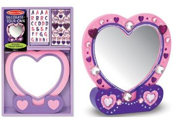 """Melissa & Doug DIY Heart Mirror The """"sweetest"""" two-piece wooden mirror is ready to reflect the creativity of your little crafter. The wooden heart mirror comes in a handy wooden tray that keeps glitter glue, craft glue, jewels and stickers organised. $24.95 and in stock. Follow this link for more information http://www.shellstreasures.com.au/#!product/prd1/1215299371/melissa-%26-doug-diy-heart-mirror"""