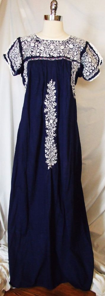 Vtg 70s Mexican Oaxaca Intricate Hand Embroidered MAXI Peasant DRESS Cotton Lace £81.68 (5B)