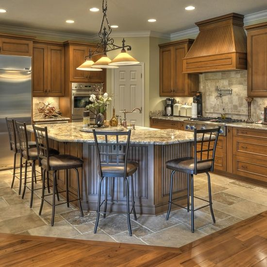 Wood Mode Kitchen With A Gorgeous Kitchen Island Http: I Kitchen Island Big Enough For Many To Sit Around And