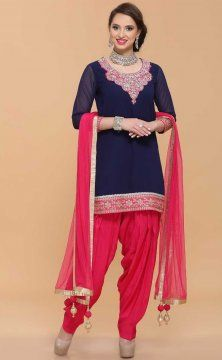 Embroidered Patiala Salwar Suit Replica Design with Chiffon Dupatta Custom Made RS025
