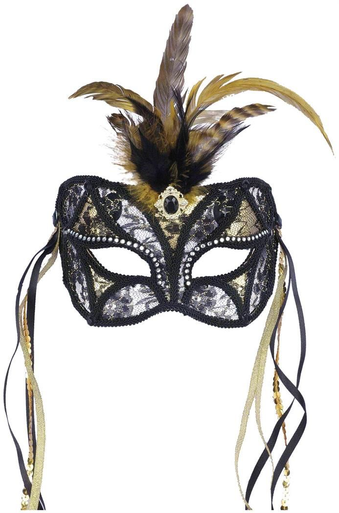 Feathered Lace Venetian Halloween beige silver accent Masquerade Ball Eye Mask